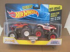 hot wheels monster jam demolition doubles spiderman vs capt. america NIP
