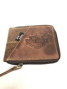 Mens Brown Harley Davidson Leather Wallet Nw