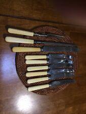 Vintage Faux Bone handle knives (6), Bread knive, Meat fork & Sharpening Steel .