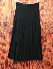 90s Skirt Vintage Pleated Claude Barthelemy Made In Paris Size 40 Black Wool