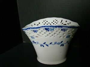 Blue And White Reticulated Porcelain Planter Pot