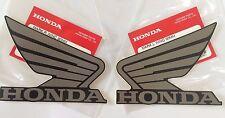 Honda  Wing Fuel Tank Decal Wings Sticker 2 x 95mm METALLIC GREY & BLACK