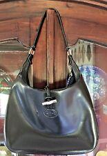 Vintage Authentic Longchamp Hobo Leather Black Handbag