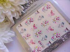 Nail Art Valentine Glitter Pink Easter Bunny LOVE Heart Sticker Water Decals 021