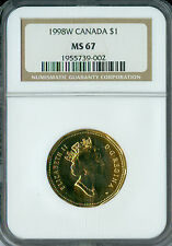 1998-W CANADA $1 LOON NGC MS-67 2ND FINEST GRADED SPOTLESS  *