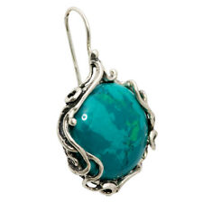 Earrings Natural Chrysocolla Eilat Stone Silver 925 French Hook Hand Made 1,5""