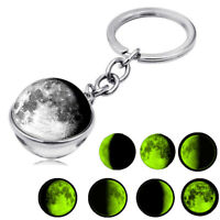 Moon Phase Image Double Sided Keyrings Pendant Key Chain Glass Ball Keychain