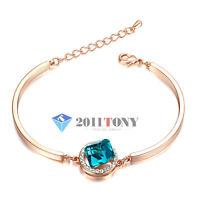 18K Rose Gold Plated Swarovski Crystal Bracelets Jewellery Cube Sapphire Bangle