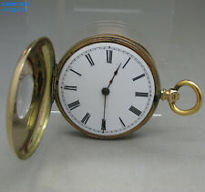 ANTIQUE FINE SOLID 14CT GOLD CASED HALF HUNTER POCKET FOB WATCH 39mm 33g c1910