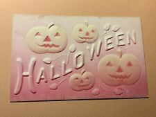 Halloween JOL Pumpkins Pink Orange Vintage Postcard