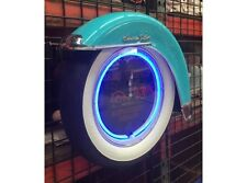NEW Motorcycle White wall tyre clock turquoise with Fender