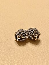 2 x Genuine Pandora Silver Leaf Flower Beaded Charms 790136 Retired