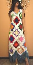 Vtg 60s 70s Wearable Art Granny Square Crochet Hippie Boho Festival Dress Fringe