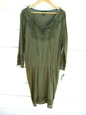 LRL Lauren Jeans Co. Embroidered Boho Dress Sage Green NWD Size 4