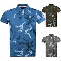 Mens Polo Shirt S&J By Crosshatch Camo Cotton T Shirt Short Sleeved Casual Top