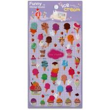 CUTE ICE CREAM STICKERS Food Dessert Epoxy Gel Sticker Sheet Craft Scrapbook