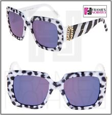 Marc Jacobs Marc 179 White Leopard Pearl Blue Square Mirrored Limited Sunglasses