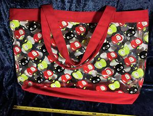 "Rare Loungefly Sanrio 2007 Chococat 20"" Vinyl Canvas Shoulder Tote Bag Apples"