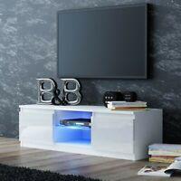 TV Schrank Lowboard Fernseher Hochglanz Schrank Möbel LED 120cm weiß