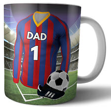 Dad Fathers Day Gift Football Mug - Red, Blue, Yellow & White Team Colours