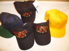 LOT-5 NOS Ball Caps Hats Snapback Poly/mesh Gold & Plaid, Black Slide Adjustable