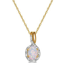 Beautiful Diamond with Created Opal Necklace Pendant in 10k Rose Gold with Chain