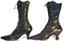 RARE Antique Victorian Boots Black Leather Ladies High Top Lace-Up Original Vtg