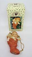 "Enesco Memories of Yesterday Ornament ""A SURPRISE FOR SANTA"" GIRL 1989 w/box"
