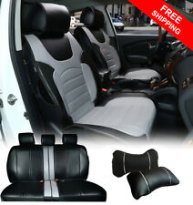 PL209-2 Full PU Leather 5 Car Seat Covers Cushion +2 Pillows for SUV Van Truck