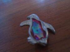 Silver Penguin With Multi-Colored Centre Badge/Brooch