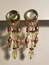 "HUGE! Vtg 80's Earrings Clips 4 1/8"" green Celadon color Gold Tone  dangle"