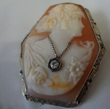 VICTORIAN 14KT INTRICATE CARVED GREAT DETAIL DIAMOND CAMEO BROOCH/OR PENDANT