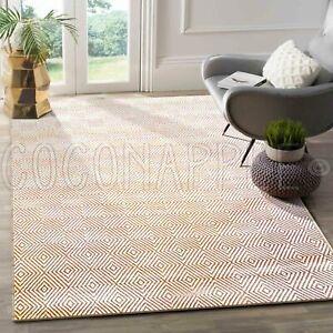 Kapaas Orange White Diamond Handwoven Cotton Floor Rug - 2 Sizes **FREE DELIVERY