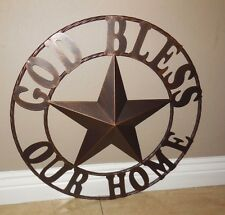 """32"""" GOD BLESS OUR HOME METAL WALL ART RUSTIC COPPER WESTERN HOME DECOR RUSTY ART"""