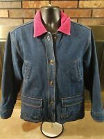 Vintage Denim Blue Jean Trucker Farm Jacket Womens Size Large Flannel Lined Pink
