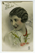 1930s French Deco Glamour PRETTY YOUNG LADY glamor RPPC photo postcard