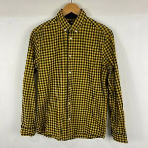 H&M Mens Button Up Shirt Size S Small blue Yellow Check Long Sleeve Collared