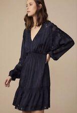 Witchery Textured Jacquard Dress Silk French Navy Sz 16 NWT RRP$230