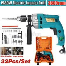 1980W Electric  Corded Impact Drill Screwdriver Powerful DIY Hammer Variable Kit