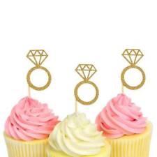 24pcs Wedding Birthday Party Glitter Diamond Ring Cupcake Toppers Cake Decor