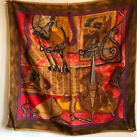 """35"""" Vintage Albert Nippon Silk Scarf Keys Musical Instruments Brown Red Jazz"""