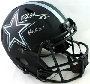 Drew Pearson Autographed Cowboys Eclipse Speed F/S Helmet w/ HOF- Beckett W *Sil