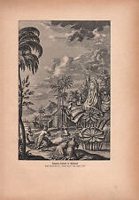 1903 ASTRONOMY GERMAN PRINT ~ SUN WORSHIP IN BABYLON RELIGIOUS CEREMONY (1733)