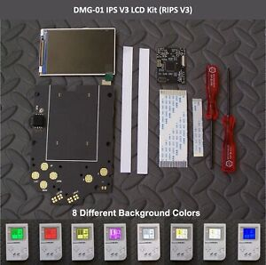 Game Boy DMG-01 Backlight IPS LCD Screen Mod Kit v3 Gold Contacts RIPS