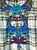 3J Workshop Shirt Tunic Sz S Johnny Was Plaid Floral Embroidered Roll Up 3/4 Sle
