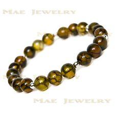 6mm Yellow/BlackDragon VeinsRoundStone Beadss925 Sterling Silver Bracelets.