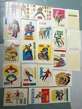 Lotto di 18 + 3 adesivi originali Supereroi Corno tutti con fustelle anni '70