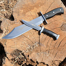 """HUMVEE 2PC Bowie KNIFE SET 10"""" and 14"""" BLACK, mirror polished stainless-steel..."""