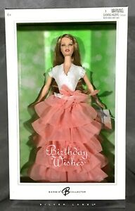 BIRTHDAY WISHES Barbie Doll Peach Ruffle Gown Silver Label 2005 New Sealed G8059