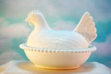 Vintage Large White Milk Glass Nesting Hen Candy Dish